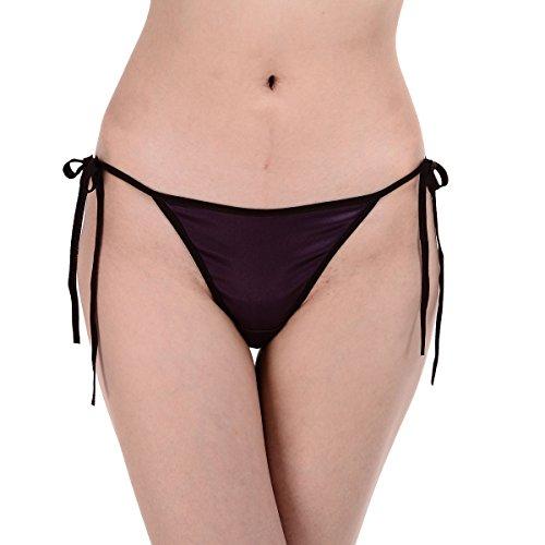Lady's Silk Spandex Satin Low Rise String Bikini Panties Tanga SN028 Purple (Low Rise Satin Bikini)