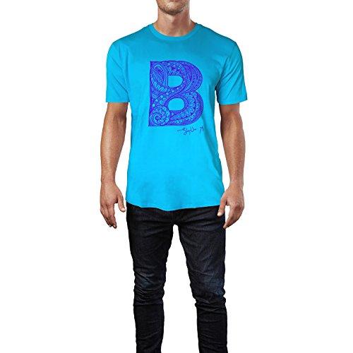 SINUS ART ® Dekorativer Buchstabe B Herren T-Shirts in Karibik blau Cooles Fun Shirt mit tollen Aufdruck