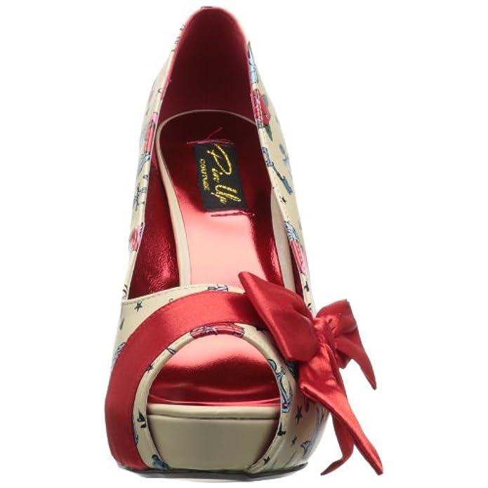 Pin Up Couture Bettie-13 Cream Pu-red Satin tattoo Print Uk 8 eu 41