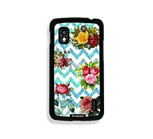 Shawnex Vintage Flowers On Teal Chevron Thinshell Case Protective Nexus 4 Case