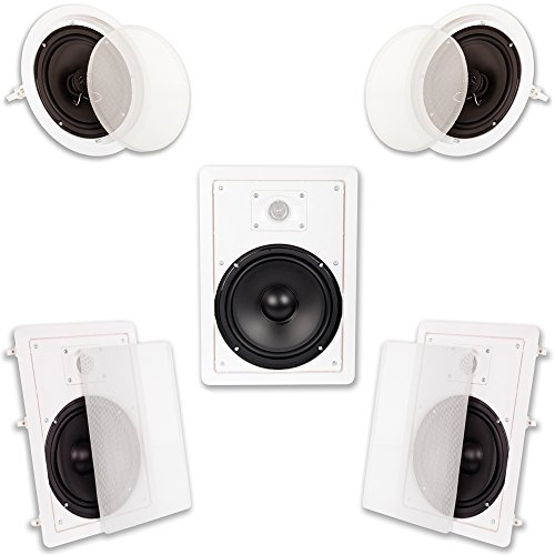 Acoustic Audio HT-85 in Wall in Ceiling 1500W 8″ Home Theater 5 Speaker System