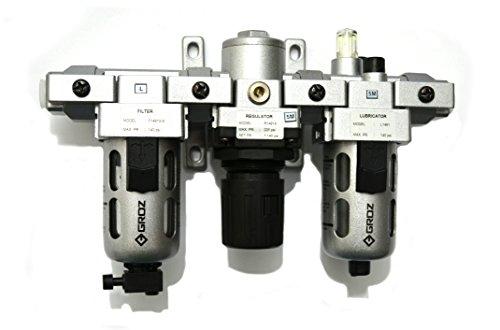 "Groz 60570 Air Filter - Regulator - Lubricator, Modular 3 Piece, Polycarbonate Bowl, Intermediate – 1/4"" NPT , 46 CFM"