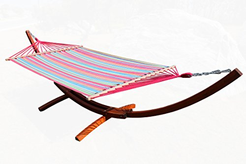 Wooden Arc Hammock Stand with Chains Curved Outdoor Hammock Set single Person 10.5 Feet Cotton Hammock Garden Patio (4.10, L)