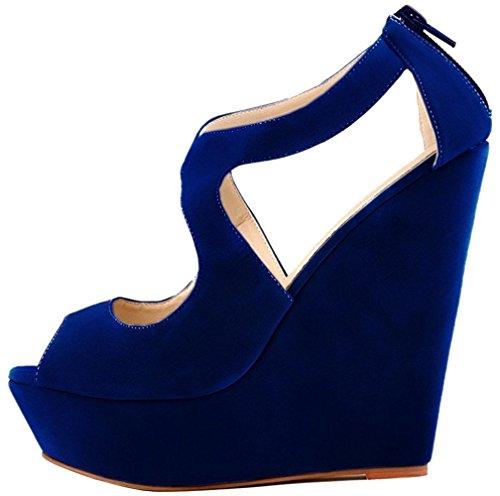 Calaier Mujer Caluckily Tacón Ancho 14CM Sintético Hebilla Sandalias de vestir Zapatos Azul