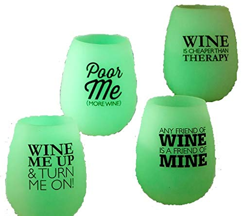 Cheap Stemless Wine Glasses Unbreakable Shatterproof Funny Modern Glow-in-the-Dark (Set of 4)