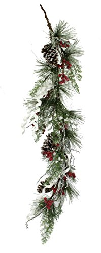 (5ft Thick Snowy Pine Garland)