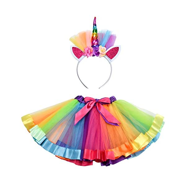 Rainbow Tutu Skirt, Layered Dance Ballet Skirt, Little Princess Kids Skirt, for Toddler Girls Dress Up with Unicorn Headband 3