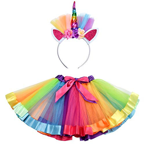 STAYING Rainbow Tutu Skirt, Layered Ballet Skirt for Girls Dress Up Little Princess, Kids Tulle Skirt with Unicorn Headband Color-1]()