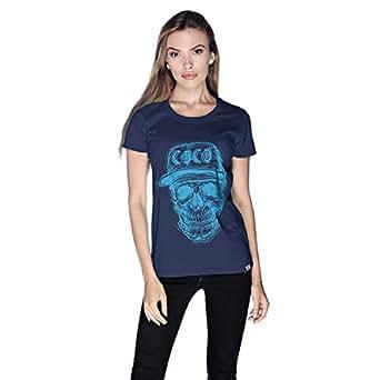 Creo Light Blue Coco Skull T-Shirt For Women - Xl, Navy Blue