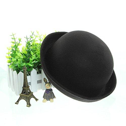 "EOZY Women Wool Felt Roll Brim Bowler Derby Hats Billycock Cloche 22.5"" Black"