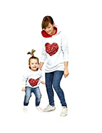 WIFORNT Mommy and Me Matching Heart-Shaped Sequins Pullover Hoodies Sweatshirt