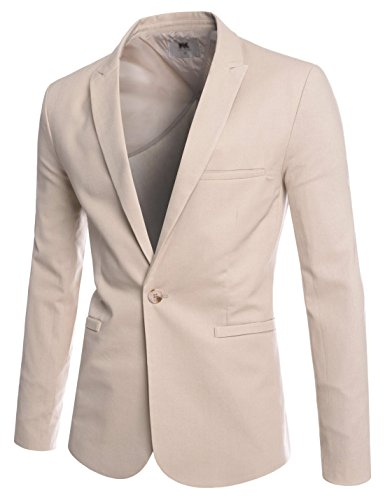 TheLees (NKLJK67) Mens Slim Cut High Collar 1 Button Cool Business Casual Blazer BEIGE US L(Tag size L)