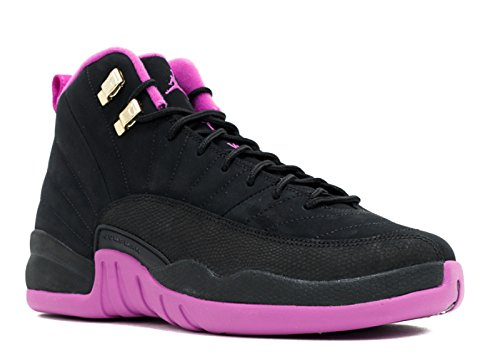 Nike Flickor Air Jordan 12 Retro Gg Svart / Metalliskt Guld Star-hyper Violett Mocka Svart / Metalliskt Guld Star-hyper Violett