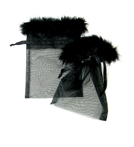 5 Piece Ribbon - Linpeng 12 Pcs 5x7 Black Organza Drawstring Feather Pouches Party, Wedding Favor,Jewelry Gift Bags, 5