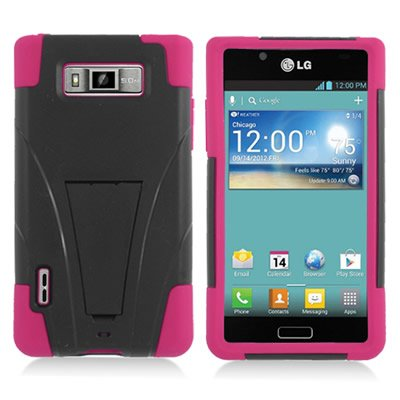 CoverON® HYBRID Dual Heavy Duty BLACK PC Hard Case and Soft HOT PINK SILICONE Skin Cover with Kickstand for LG US730 AS730 SPLENDOR / VENICE / OPTIMUS SHOWTIME L86c / OPTIMUS ULTIMATE [WCC997] - Lg Venice Phone Case Black