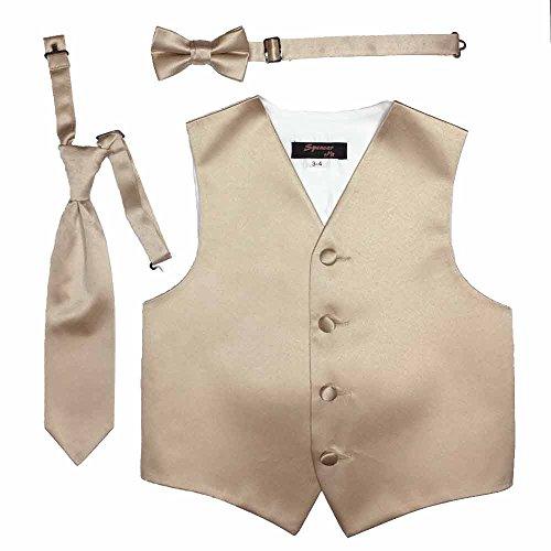 Spencer J's Boys Formal Tuxedo Vest Tie Bowtie Set Variety Colors (1-2, Champagne)