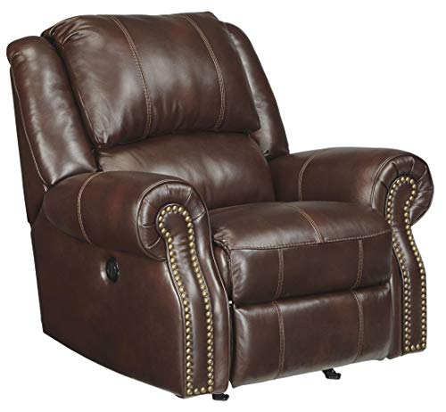- Ashley Furniture Signature Design - Collinsville Rocker Recliner - Power Reclining Chair - Contemporary Style - Chestnut Brown