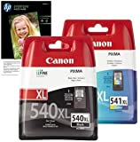 Original Genuine High Capacity Canon PG540XL (PG-540XL) Black & CL541XL (CL-541XL) Colour Ink Cartridge combo twin pack boxed in original retail packaging & 10x FREE HP Advanced Glossy Photo Paper for Canon PIXMA MG2150 MG2250 MG3100 MG3150 MG3250 MG4150 MG4250 MX375 MX435 MX515 Inkjet Printers (5222B005AA, 5226B004AA)