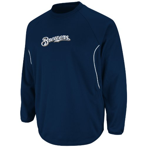 MLB Men's Milwaukee Brewers Long Sleeve Crew Neck Thermabase Tech Fleece Pullover by Majestic (Pro Navy/Pro White, X-Large)