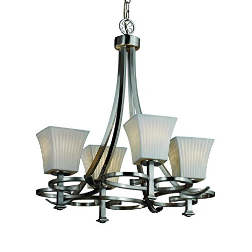 Justice Design Group Limoges 4-Light Chandelier - Brushed Nickel Finish with Waterfall Translucent Porcelain Shade