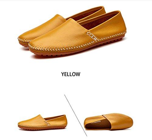 44 Piselli estive casual tempo Mens libero Scarpe sandali taglia Giallo 41 morbide Scarpe il traspiranti LHFJ in per nuovi e pelle xHnZXXq4