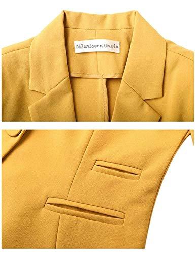 Ufficio Moda Gelb Classiche Tailleur Fit Primaverile Giacca Monocromo Button Lunga Giubbino Da Outerwear Donna Bavero Con Autunno Manica Hipster Elegante Business Slim Blazer Tasche w1nSqE4