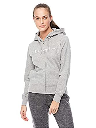 Champion Hooded Full Zip Sweatshirt for Women, Grey, L