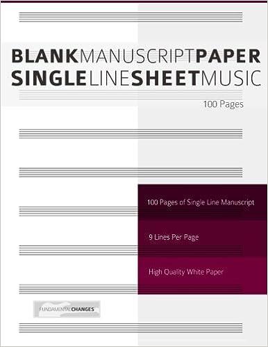 Blank Manuscript Paper - Single Line Sheet Music: Amazon co