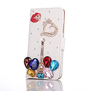 Happy Hours® Wallet Style Card Pouch Bling Crystal Rhinestone Folding Stand Flip PU Leather Case Cover For Samsung Galaxy S5 SV I9600 Sexy Red Lips Colorful Water Drop With Free Gift Stylus & Screen Protection
