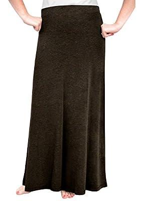 Kosher Casual Women's Modest Flowing Long Elastic Waist A-Line Maxi Skirt in Lightweight Viscose/Lycra