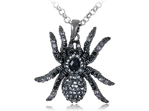 Alilang Hematite Czech Crystal Rhinestone Spider Pendant Necklace Black Clear Purple (Black Spider Necklace)