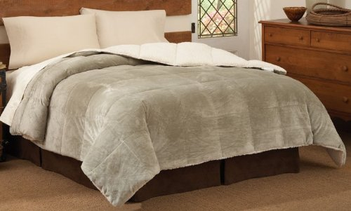 Cloud Fleece Twin Comforter - Mink Reversing to Cloud Fleece Twin Comforter Sage