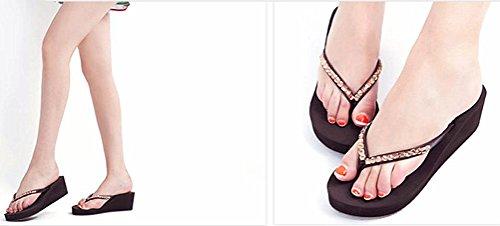 ANBOVER Platform Thong Sandals Wedge Summer Slippers Crystal Brown Beach Womens Flip Flops rznYr60
