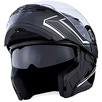 1Storm Motorcycle Modular Full Face Helmet Flip up Dual Visor Sun Shield: HB89 Arrow White