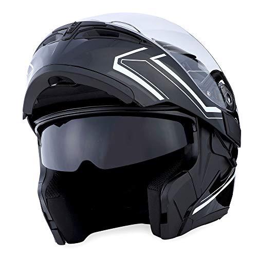 1Storm Motorcycle Modular Full Face Helmet Flip up Dual Visor Sun Shield: HB89 Arrow White