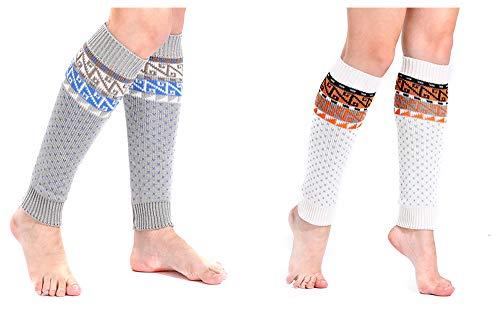 Women Knee High Socks Winter Bohemian Boot Cuff Knit Crochet Leg Warmers 2 Pack ()