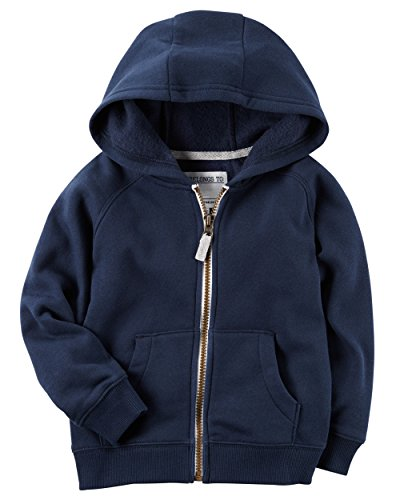 Carters Boys Classic Fleece Zip-Up Hoodie with Pockets (3T, (Navy Blue Toddler Sweatshirt)