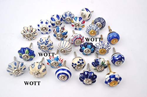 WOTT Blue and White Hand Painted Ceramic Pumpkin KNOBS Cabinet Drawer Handles Pulls (Set of 25 PC)