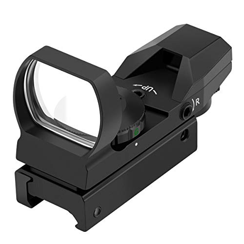 Feyachi RS-29 Reflex Sight, Red & Green Illuminated 4 Reticles Red Dot Sight Gun Sight with 20mm Picatinny Rail, 1x22x33mm (Best Red Dot Sight Airsoft)