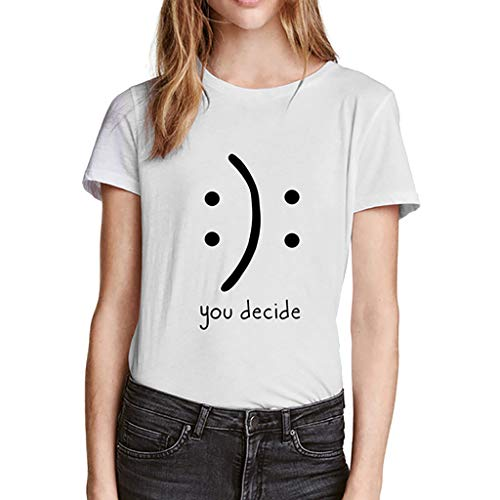 Sunhusing Ladies Punctuation Pattern Letter Print T-Shirt Round Neck Short Sleeve Broadcloth Top Tee White