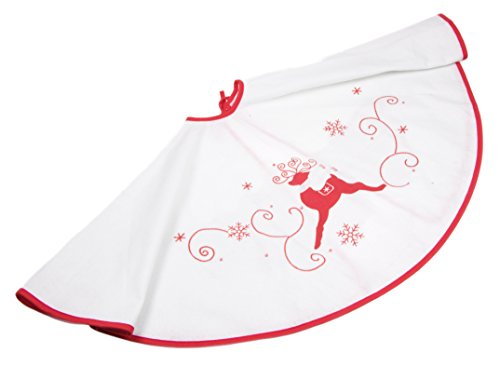 Christmas White and Red Tree Skirt with Leaping Reindeer - 39