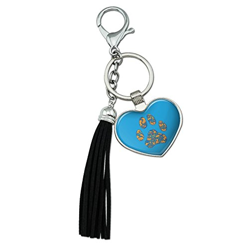 (Graphics and More Pets Paw Print with Dog Cat Animal Details Chrome Plated Metal Heart Leather Tassel Keychain)