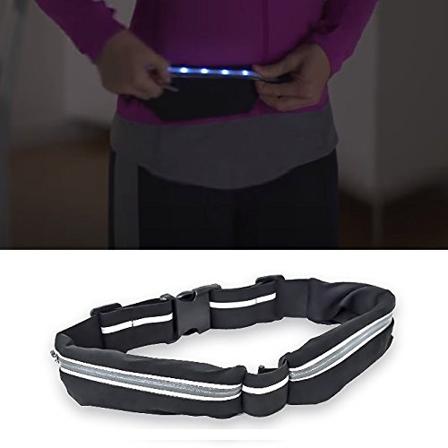LED Lighted GO Belt – As Seen on TV – Extra Stretchy 2 Expandable Pockets 2 LED Light Modes