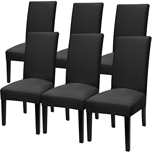 Fuloon 6 Pack Super Fit Stretch Removable Washable Short Dining Chair Protector Cover Seat Slipcover for Hotel,Dining Room,Ceremony,Banquet Wedding Party (Deep Black)