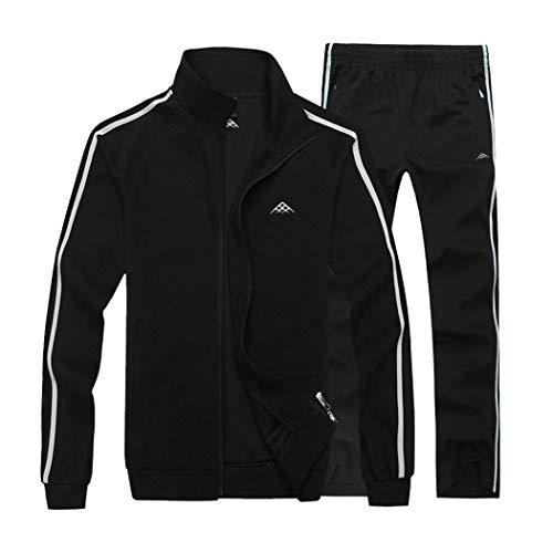 Modern Fantasy Men's Classic Striped Winter Tracksuit Running Joggers Sports Warm Sweatsuit Big Black XXXL