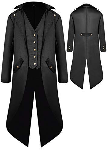 Steampunk Boy Costume (Boys Medieval Tailcoat Jacket Halloween Costumes, Gothic Steampunk Vintage Victorian Frock High Collar Uniform Coat (Black,)