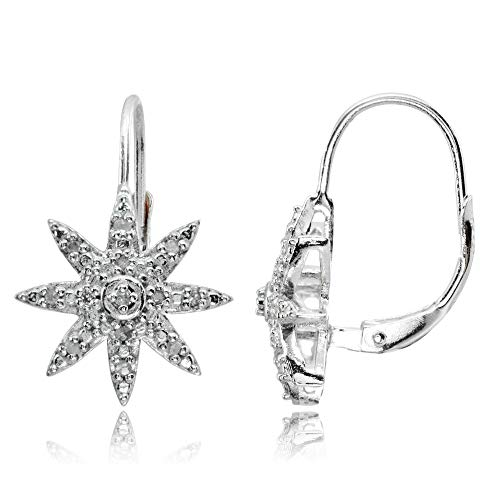 - Sterling Silver Polished Snowflake Star Diamond Accent Leverback Earrings, JK-I3