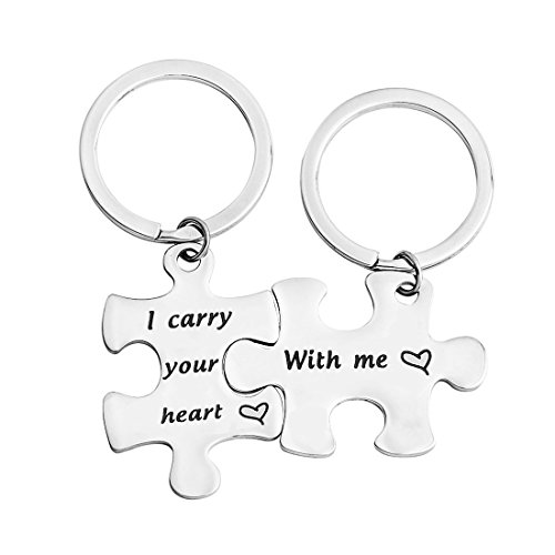 BNQL I Carry Your Heart with Me Puzzle Keychain Set Couples Keychain (With Me Keychain Set) by BNQL