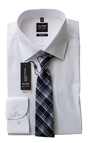 OLYMP Hemd, Weiß Body Fit Level 5 Five mit passender Seidenkrawatte, besonders Bügelleicht, Comfort Stretch, New York Kent