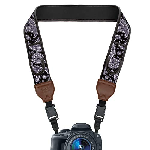 - USA GEAR TrueSHOT Camera Strap with Black Paisley Neoprene Design, Accessory Pockets and Quick Release Buckles - Compatible with Canon, Nikon, Sony and More DSLR, Mirrorless, Instant Cameras